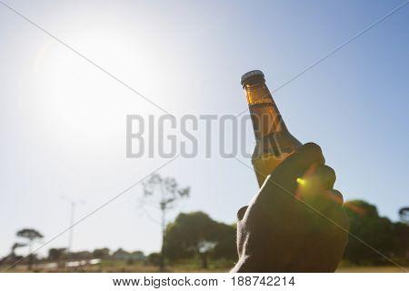 Man holding a beer bottle in the park on a sunny day
