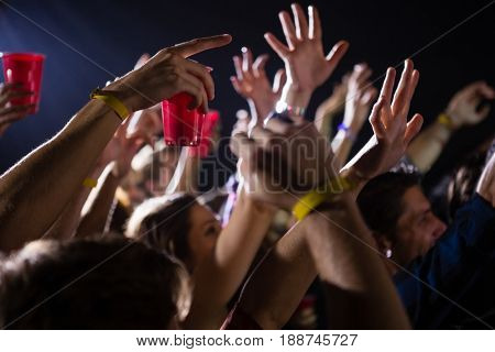 Group of people dancing at a concert in nightclub