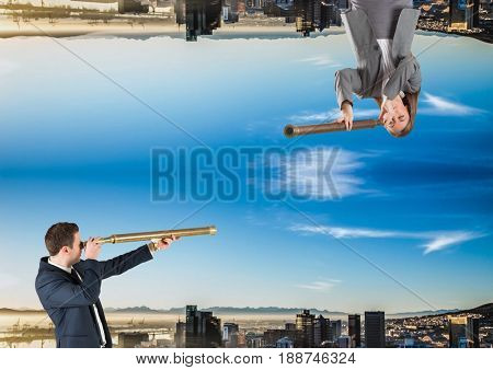 Digital composite of up side down city. men and woman looking each other with telescope
