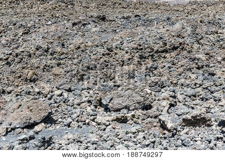 Textured volcanic lava rock on Mount Etna in Sicily