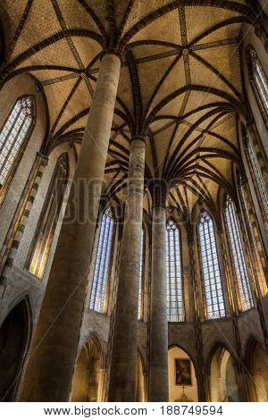 Interior of the Church of the Jacobins in Toulouse, France. Southern Gothic architecture.