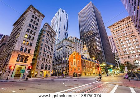 Boston, Massachusetts, USA Old State House and cityscape.