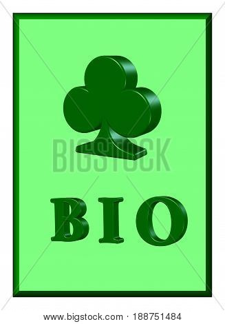 Illustration of green bio poster with plastic elements
