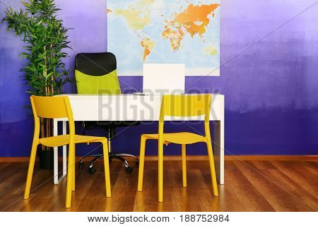 Office interior of travel agency