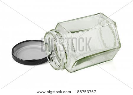 Open Hexagonal Shape Glass Container Lying on White Background