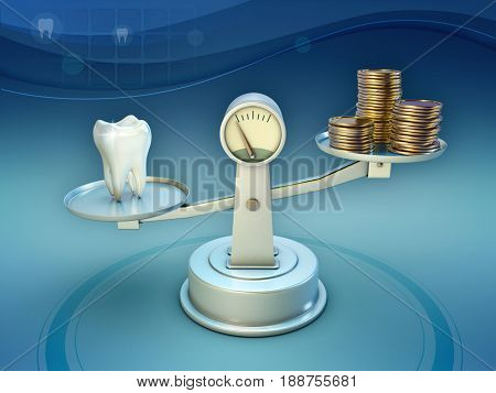 Some coins and a tooth on a scale. 3D illustration.