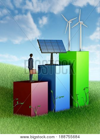 Graph showing business growth through investment in renewable energies. 3D illustration