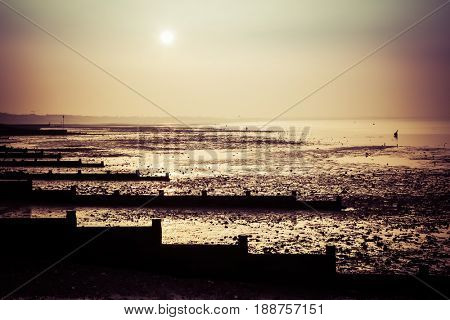 sunset at low tide in Whitstable, Kent