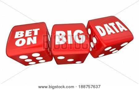 Bet on Big Data Rolling Dice Information Database Service 3d Illustration