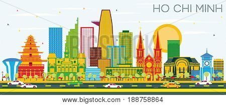 Ho Chi Minh Skyline with Color Buildings and Blue Sky. Business Travel and Tourism Concept with Modern Buildings. Image for Presentation Banner Placard and Web Site.