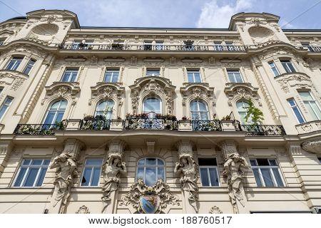 austria, vienna, art nouveau houses on naschmarkt
