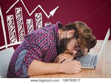 Digital composite of Man asleep at laptop and white graph against maroon background