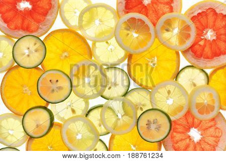Sliced fruits background,Citrus fruits