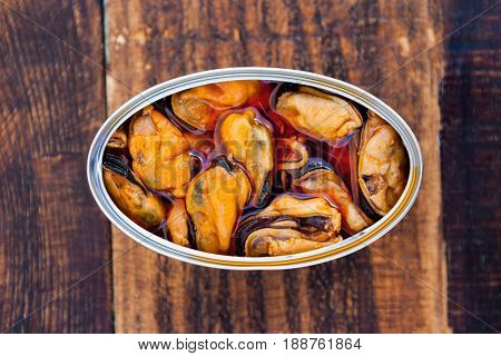 Can of canned mussels. Healthy meal