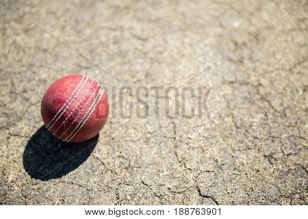 High angle view of cricket ball on pitch during sunny day