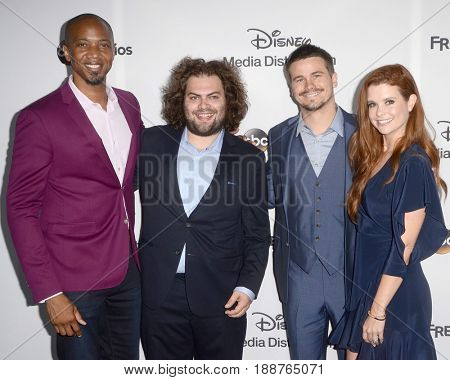 LOS ANGELES - MAY 21:  J. August Richards, Dustin Ybarra, Jason Ritter, JoAnna Garcia Swisher at the 2017 ABC/Disney  International Upfront at the Walt Disney Studios on May 21, 2017 in Burbank, CA