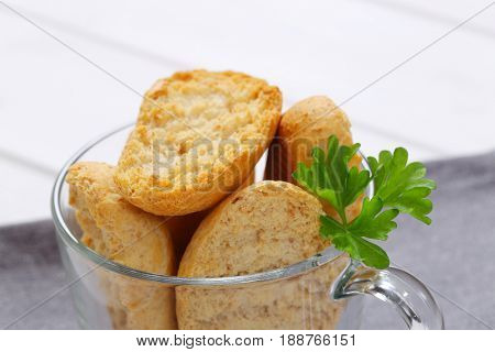 cup of crispy rusks - close up