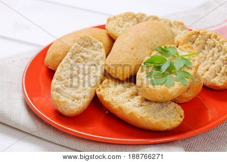 plate of crispy rusks on folded place mat - close up