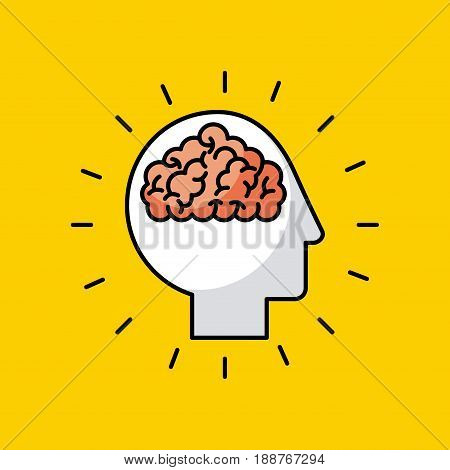 head brain illustrationicon vector desgn graphic colorful
