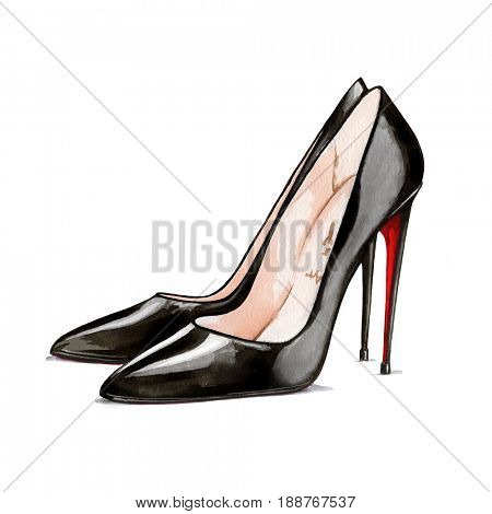 Watercolor illustration of hand painted black high heels