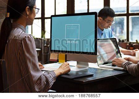 Illustration of identity branding business trademark on computer
