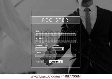 Register Application Form Membership Concept