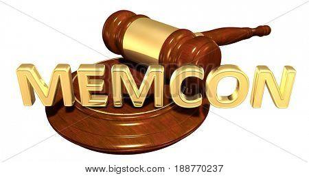 Memcon Law Concept 3D Illustration