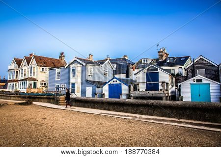 WHISTABLE, UITED KINGDOM - January 21, 2017: Colorful houses on Whitstable coastline, Kent
