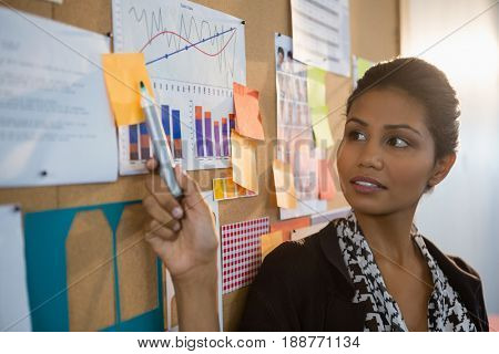 Female executive pointing at sticky note on the bulletin board in office
