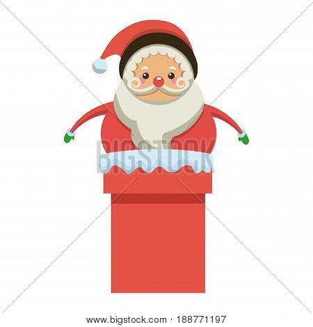cute santa claus in chimney christmas character vector illustration