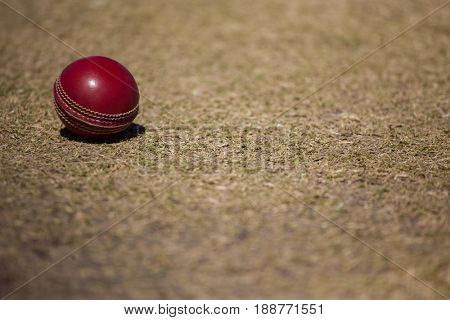 High angle view of cricket ball on pitch