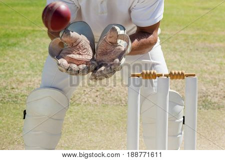 Mid section of wicketkeeper catching ball behind stumps on field during sunny day