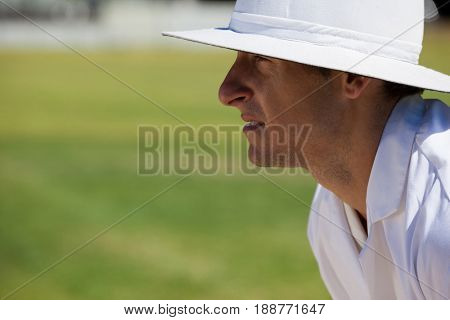 Side view of focused umpire at field during cricket match on sunny day