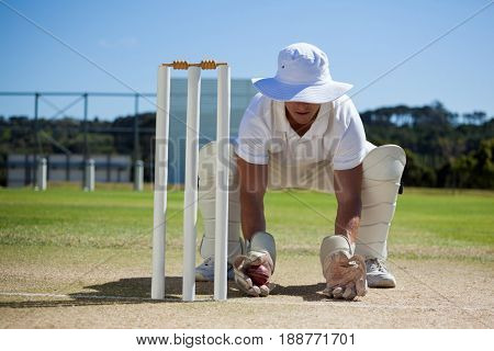 Wicketkeeper holding ball behind stumps against blue sky on sunny day