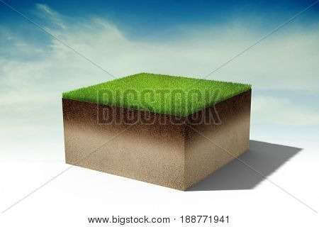 3d piece of land island with fresh green grass