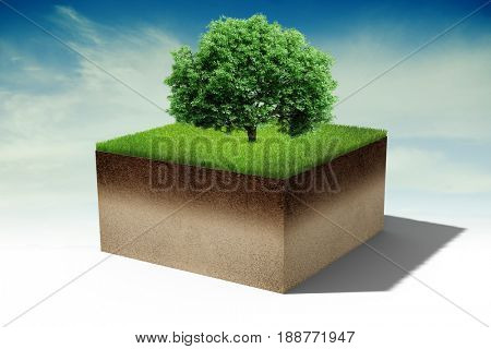 3d tree on a little piece of land island with fresh green grass