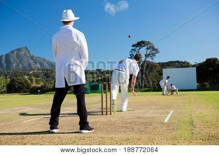 Team playing cricket on pitch against sky on sunny day