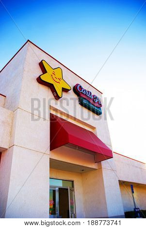 SACRAMENTO, CALIFORNIA, USA - November 3, 2009: Entrance to a Carls Jr. and Green Burrito fast food chain restaurant