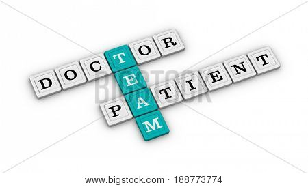 Doctor and Patient Team Crossword. Healthcare concept. 3D illustration on white background.