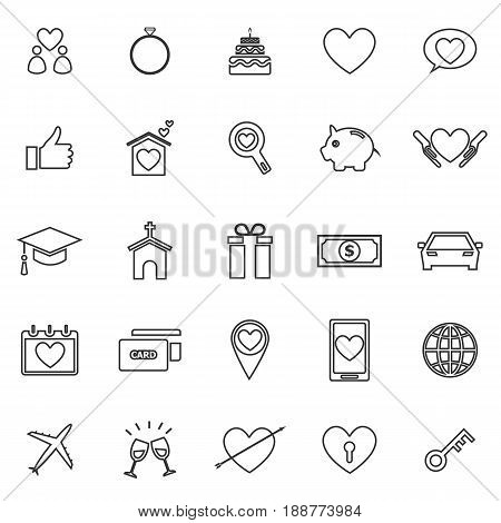 Family line icons on white background, stock vector