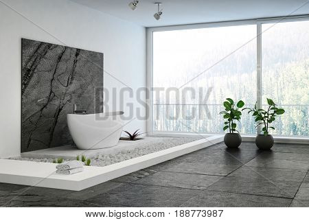 Luxury elegant minimalist bathroom interior with an oval bath on a raised pebble platform, black stone tiles and potted plants in front of a large window with forest view. 3d rendering