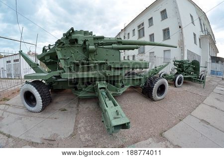 Vintage Soviet air-defense cannon.Museum of former Soviet  anti-ballistic missile testing range Sary Shagan.May 10, 2017.Priozersk.Kazakhstan