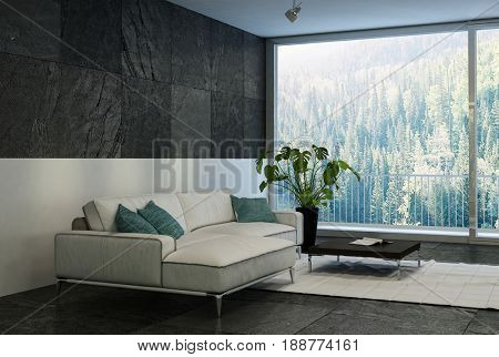 Modern comfortable modern living room with a forest view through large floor to ceiling glass windows with a large couch and potted plant in black and white decor. 3d rendering