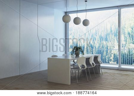 Modern dining room interior with a table and chairs below three round globe lights in monochrome white minimalist decor overlooking a mountain forest. 3d rendering