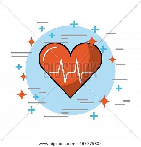 hearth in circle health vector illustration icon design graphic