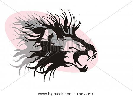 conventionalized vector image of lion. may be use for tattoo