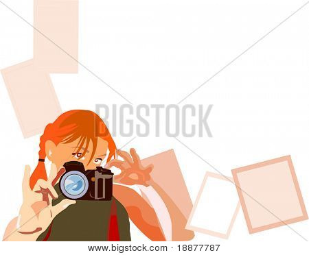 image of young pretty photographer witn white area for your photo, text and etc. Good use for design your family photos