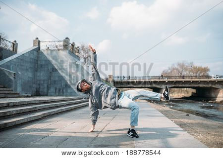 Dance performer, hip hop dancing  on the street