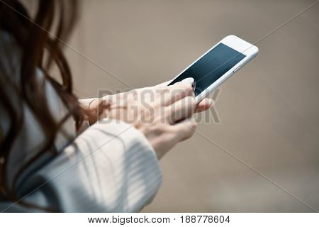 Businesswoman working with mobile phone