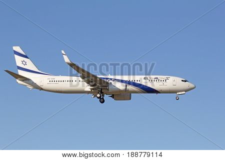 ZURICH - JULY 18: Boeing-737 El Al landing in Zurich after short haul flight on July 18, 2015 in Zurich, Switzerland. Zurich airport is home for Swiss Air and one of biggest european hubs.